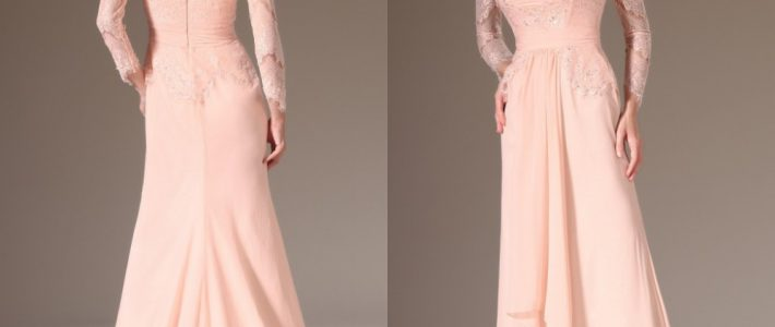 Model gaun pesta mewah wanita lengan panjang warna pastel